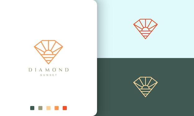 Diamentowe logo plaży w kształcie słońca w prostej linii mono i nowoczesnym stylu