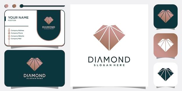 Diamentowe logo z nowoczesną kreatywną koncepcją abstrakcyjną premium wektor
