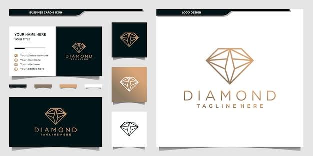 Diamentowe logo z unikalnym stylem grafiki liniowej i projektem wizytówki premium vecto