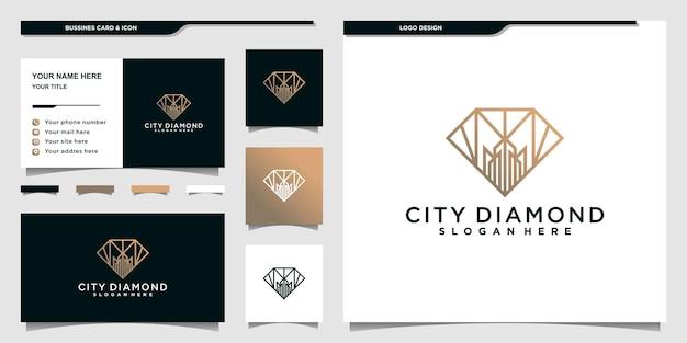 Diamentowe projekty logo miasta z nowoczesnym stylem linii i projektem wizytówek premium wektor