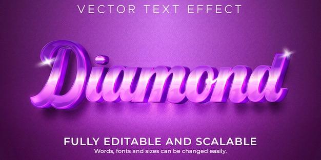 Diamentowy elegancki efekt tekstowy edytowalny błyszczący i fioletowy styl tekstu