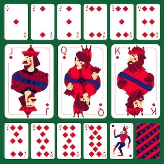 Diamentowy komplet kart do gry w pokera