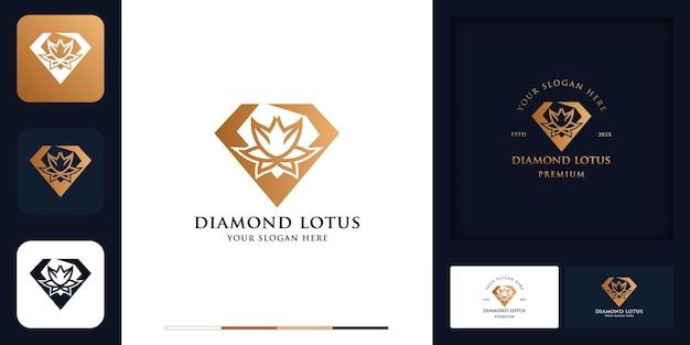 Diamentowy kwiat nowoczesny projekt logo w stylu vintage i wizytówka