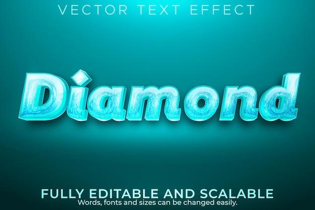 Diamentowy luksusowy efekt tekstowy, edytowalny elegancki i błyszczący styl tekstu