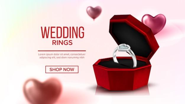 Diamentowy platynowy pierścień w pudełku