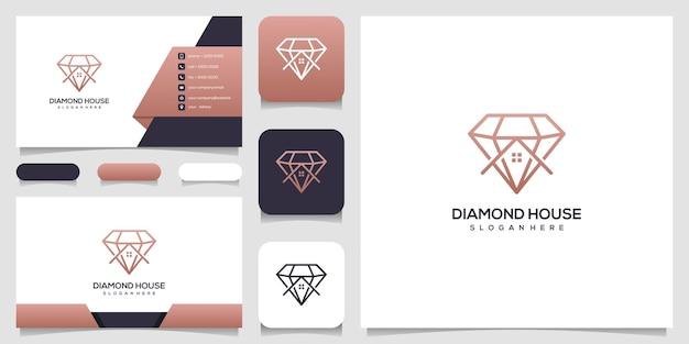 Diamenty i dom. abstrakcyjne koncepcje projektowe dla agentów nieruchomości, hoteli, rezydencji. symbol budowy. projektowanie logo i szablony wizytówek.