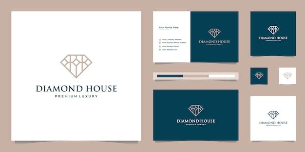 Diamenty i dom. abstrakcyjne koncepcje projektowe dla pośredników w obrocie nieruchomościami, hoteli, rezydencji. symbol budynku. projektowanie logo i szablony wizytówek.