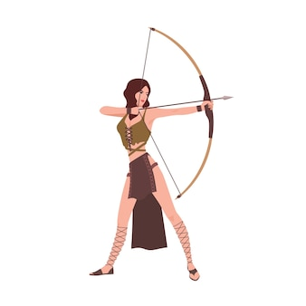 Diana lub artemis, bogini łowów z mitologii rzymskiej lub greckiej na białym tle