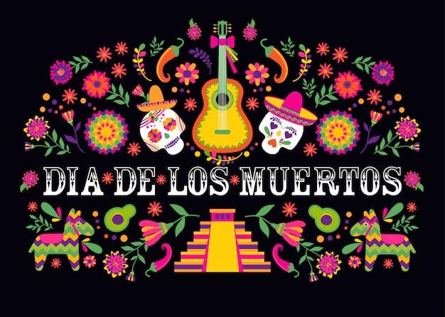 Dias de los muertos typografia. projekt meksyku. tradycyjna meksykańska rama z kwiatowymi literami