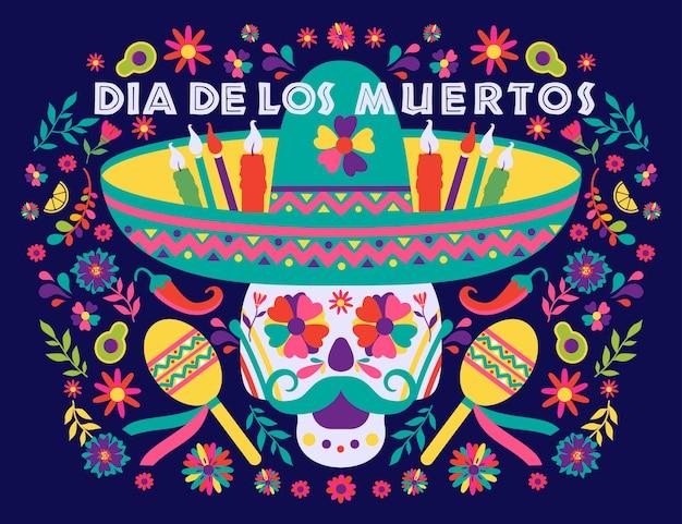 Dias de los muertos z czaszką w sombrero. święto śmierci, tradycyjne meksykańskie święto.