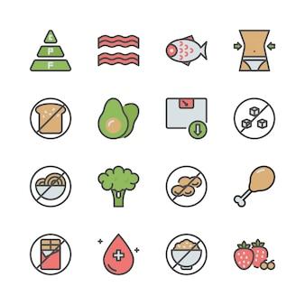 Dieta ketogeniczna w zestaw ikon kolorów