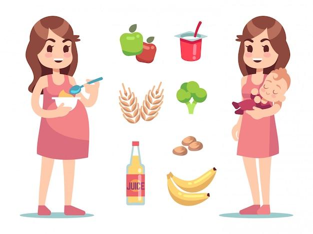 Dieta kobiety w ciąży. wektor koncepcja ciąży i macierzyństwa. dieta prozdrowotna dla kobiet w ciąży i matek karmiących