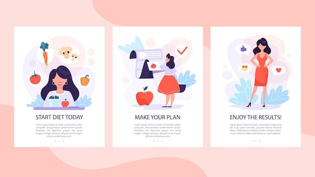 Dieta zestaw koncepcji mobilnych banerów. kobieta je zdrowo