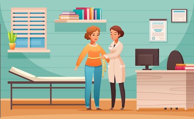 Dietetyk doradzający skład kreskówki z kontrolą wskaźnika masy ciała klientki w gabinecie dietetyka