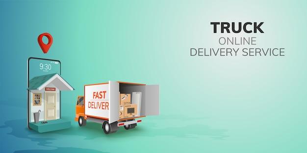 Digital online globalna logistyczna ciężarówka van dostawa na telefon, tło strony mobilnej. koncepcja przypinania opakowania transportowego produktu spożywczego dla pasażera. ilustracja 3d. płaska konstrukcja. kopia przestrzeń