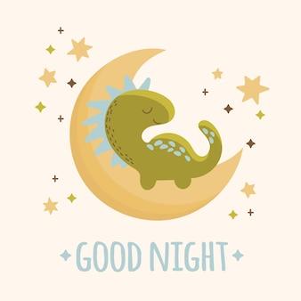Dino baby moon ręcznie rysowane płaska konstrukcja w stylu grunge kreskówka prehistoryczny księżyc zwierząt