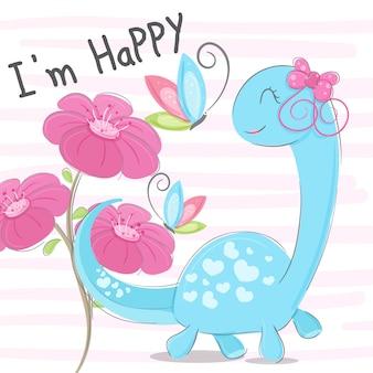 Dino cute ręcznie rysowane ilustracji wektorowych