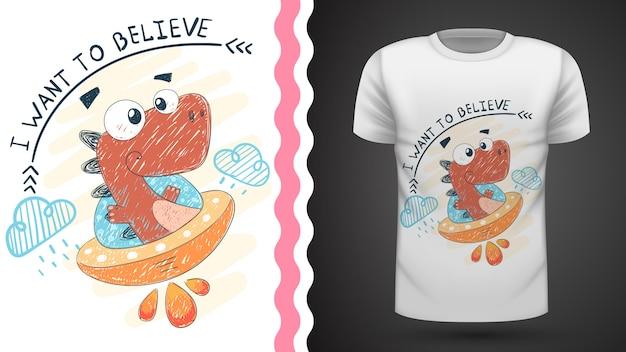 Dino i ufo - pomysł na t-shirt z nadrukiem