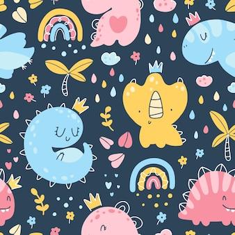 Dino księżniczka wzór. dziewczyny dinozaury z koronami w dżungli z tęczą. dziecięcy, ręcznie rysowany styl skandynawski. tekstura wektorowa na ubrania dla dzieci, opakowania, tapety, tekstylia