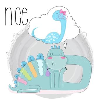Dino śpi słodkie ręcznie rysowane ilustracji