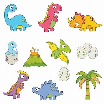 Dinozaur Clipart. Kolekcja Dinozaurów Kreskówek. Premium Wektorów