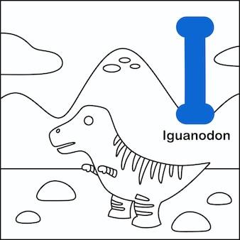 Dinozaur do kolorowania z alfabetem i.