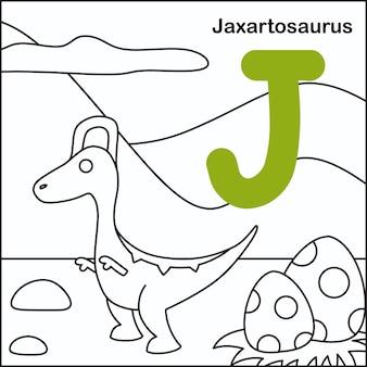 Dinozaur do kolorowania z alfabetem j.