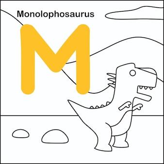 Dinozaur do kolorowania z alfabetem m.