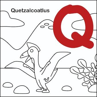 Dinozaur do kolorowania z alfabetem q.