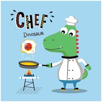 Dinozaur fajny szef kuchni zabawna kreskówka zwierzęca