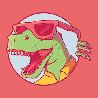 Dinozaur głowa postać wektor ilustracja zwierzę styl lato śmieszne koncepcja projektowania