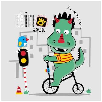 Dinozaur grający na rowerze zabawna kreskówka zwierzęca