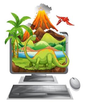 Dinozaur na ekranie komputera