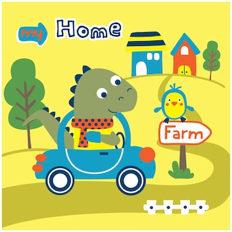 Dinozaur na samochodzie zabawna kreskówka zwierząt
