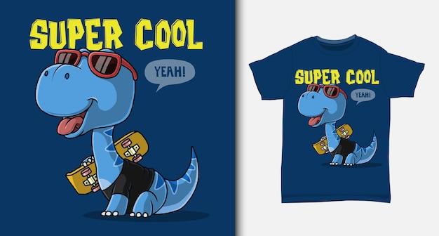 Dinozaur niosący deskorolkę. z projektem koszulki.