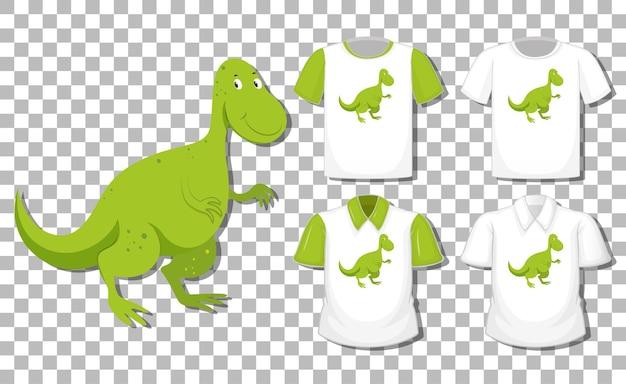 Dinozaur postać z kreskówki z zestawem różnych koszul na białym tle