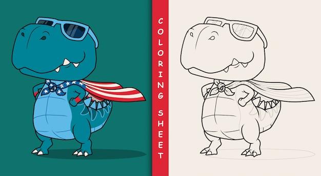 Dinozaur super bohater kreskówki. arkusz do kolorowania.