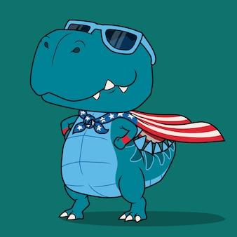 Dinozaur super bohater kreskówki.