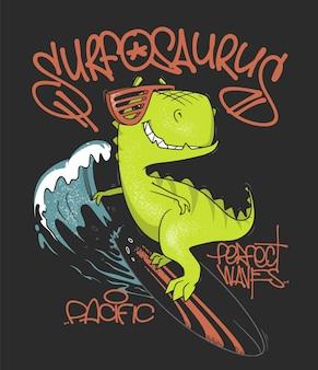 Dinozaur surfer jedzie na fali na desce surfingowej. ilustracja.