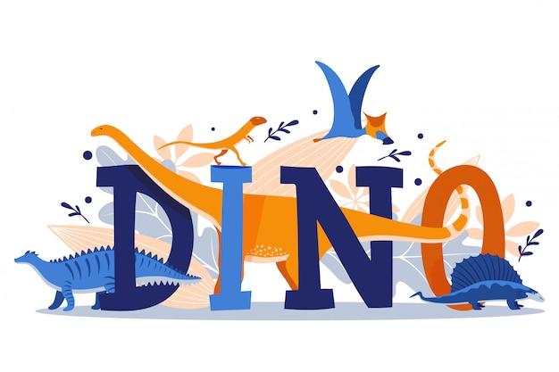 Dinozaur typografii plakat, prehistoryczne zwierzęta ilustracja