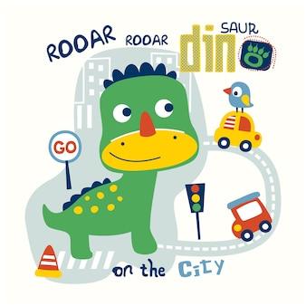 Dinozaur w mieście zabawna kreskówka zwierzęca