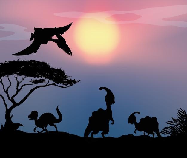Dinozaur w tle przyrody