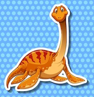 Dinozaur z długą szyją na niebiesko