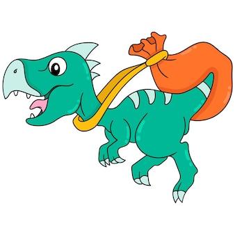 Dinozaur zwierzę biegnie z torbą na dostawę, ilustracja wektorowa sztuki. doodle ikona obrazu kawaii.