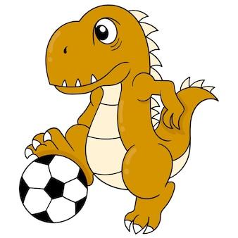 Dinozaury bawią się grając w piłkę nożną. doodle ikona kawaii.