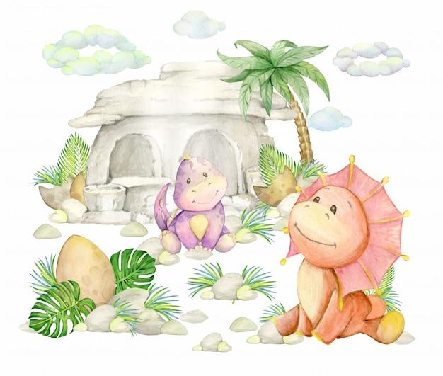 Dinozaury, kamienny dom, palma, jajka, muszle, liście, chmury. prehistoryczny świat, namalowany akwarelą, na na białym tle.