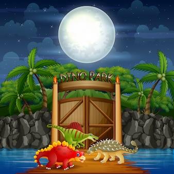 Dinozaury kreskówek w parku dino w nocy krajobraz