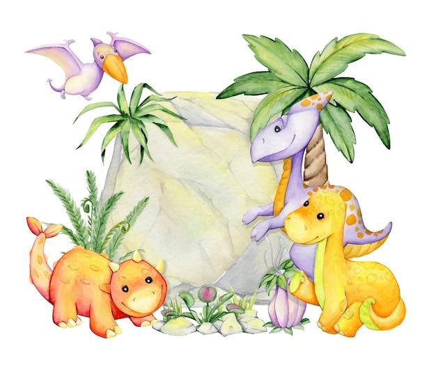 Dinozaury, na tle roślin kamiennych i tropikalnych. koncepcja akwareli w stylu kreskówki.