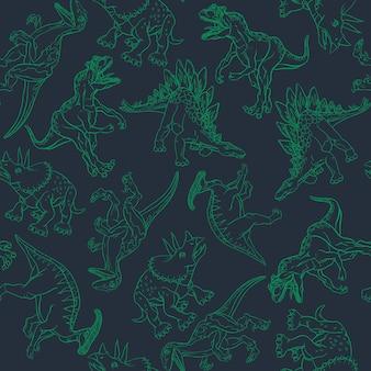 Dinozaury narysowane na czarnym tle z zielonym konturem w stylu wzoru. ilustracja wektorowa.