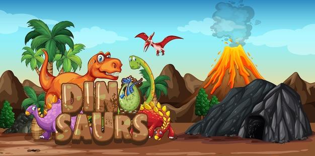 Dinozaury postać z kreskówki w scenie przyrody
